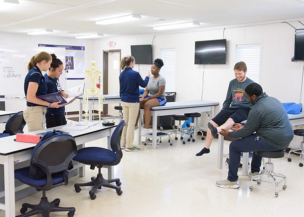 A room of athletic training students evaluating each other in a classroom lab.