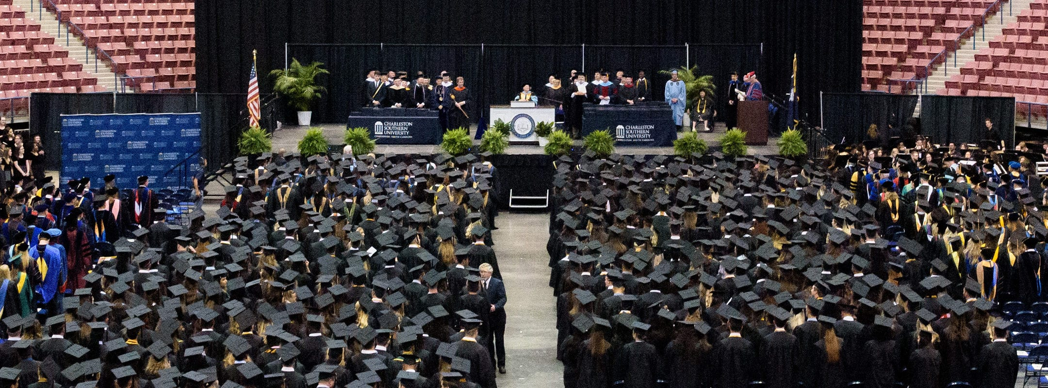A wide view of Charleston Southern's graduation ceremony in the North Charleston Coliseum.