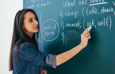 Teacher standing in front of the class blackboard writing english language parts of speech.