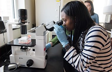 A student peering into a microscope.