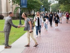 President Costin greets CSU students during Welcome Week 2019.