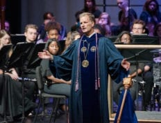 President Dondi Costin presents the gospel at CSU Opening Chapel 2019