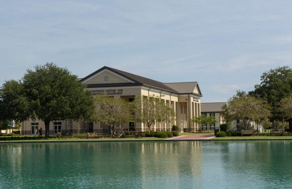 The Whitfield Center for Christian Leadership building from across the reflection pond