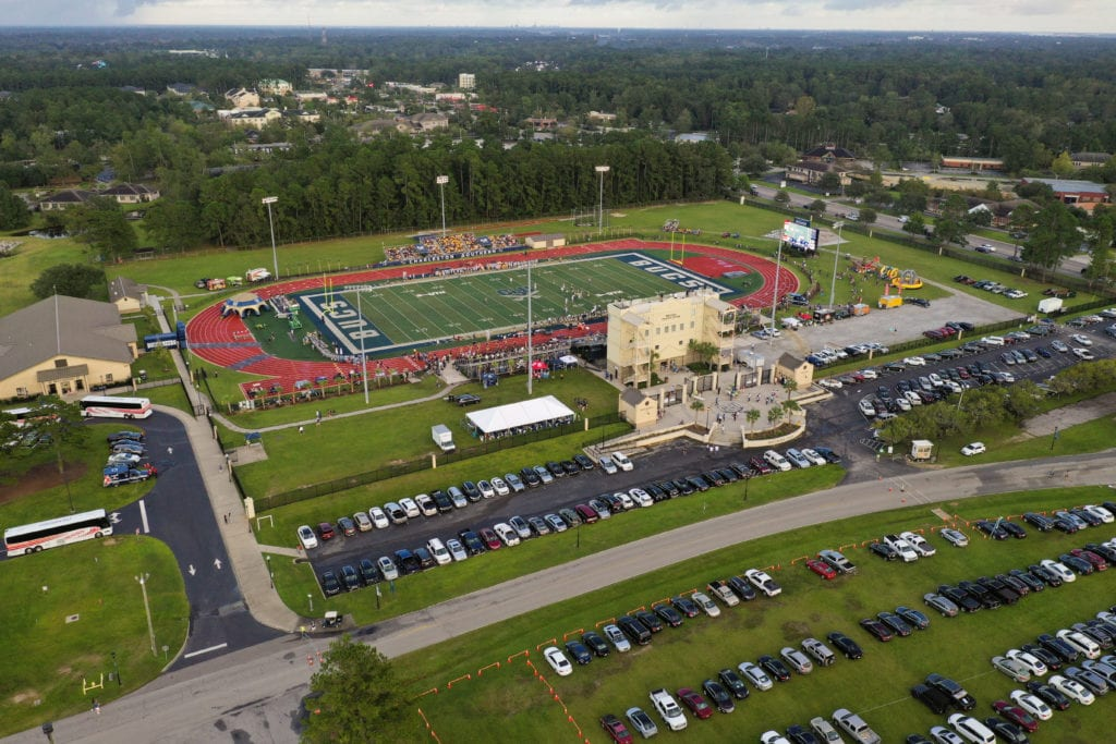 A birds eye view of Whitfield Stadium Center and Buccaneer Field
