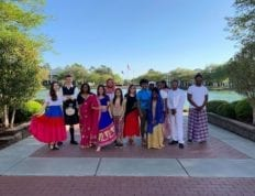 CSU International Club 2019 in front of the reflection pond