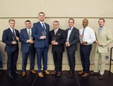 2019 Alumni award winners: Colonel Greg Woodbury, Keith Faulkner, Adam Kirtley, Frankie Melton, Julian Smith, Andy Casson, Lecius Moore