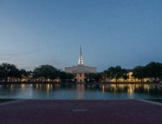 The reflection pond and chapel en the evening just after sunset.