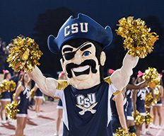 Bucky cheering on the sideline of a CSU football game.