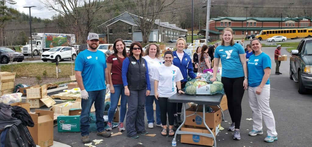 Williams Y packing meals for the community Avery County North Carolina