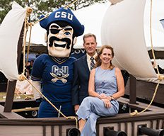 The Costin's with Bucky on the CSU pirate ship.