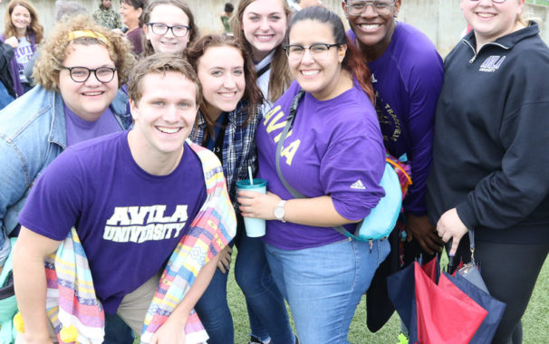 Students and alumni gathered for Homecoming game at Avila University.