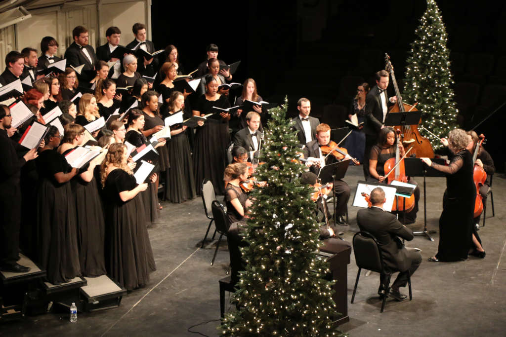 Christmas choir and orchestra concert inside Goppert Theatre