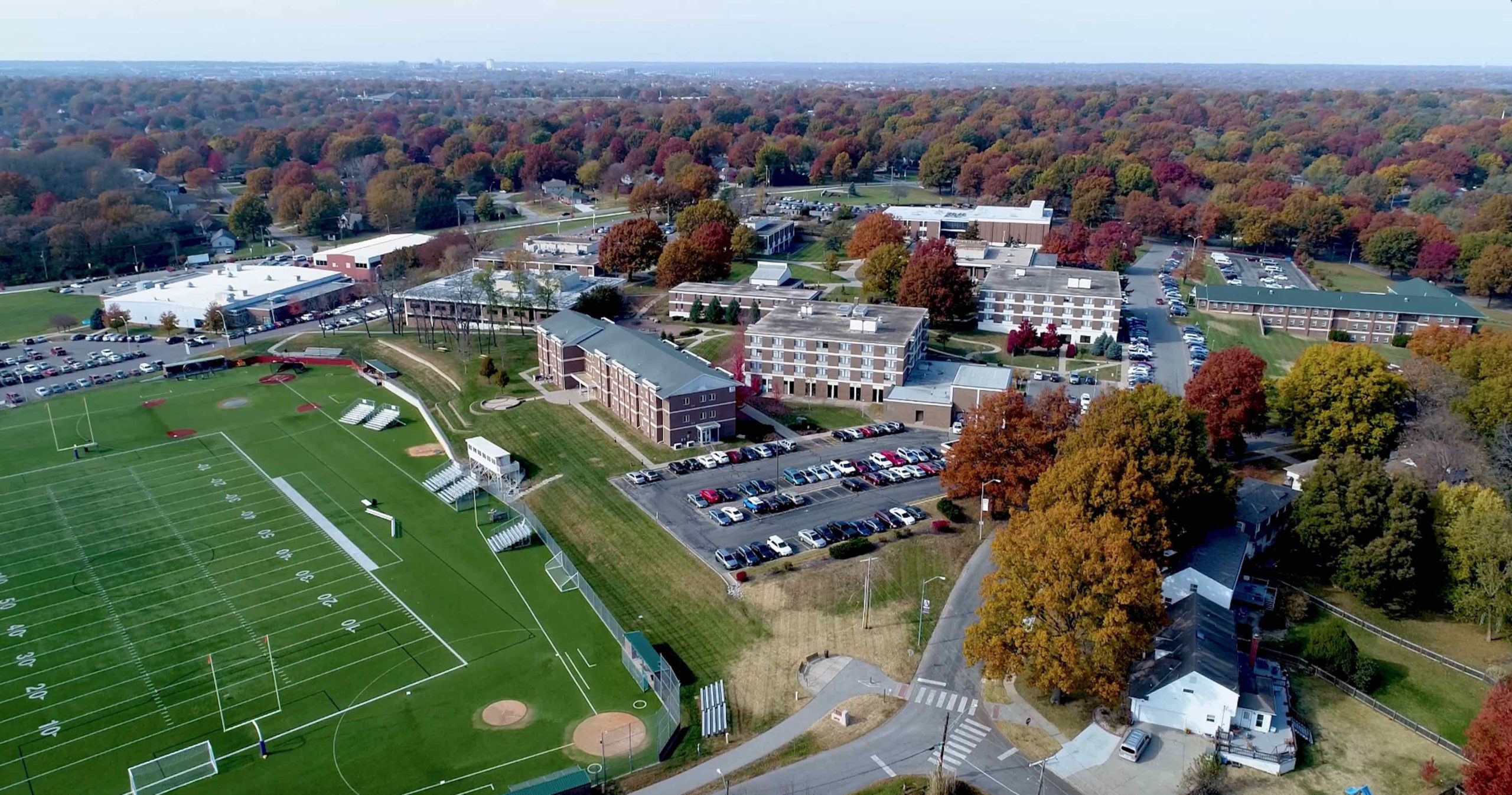 Aerial image of the Avila campus from the southeast side looking toward the northwest in the fall