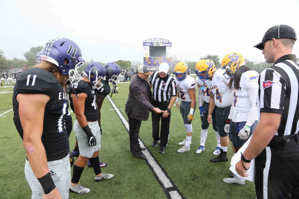 Coin toss before a home football game vs. Bethany College