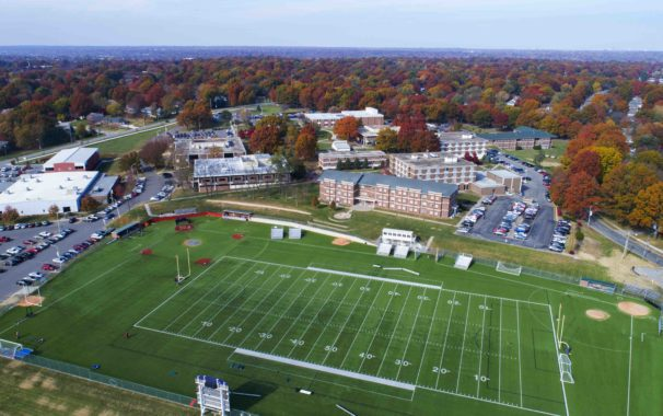 Aerial view of campus from southside looking north. Zarda multi-sport field is in the foreground.