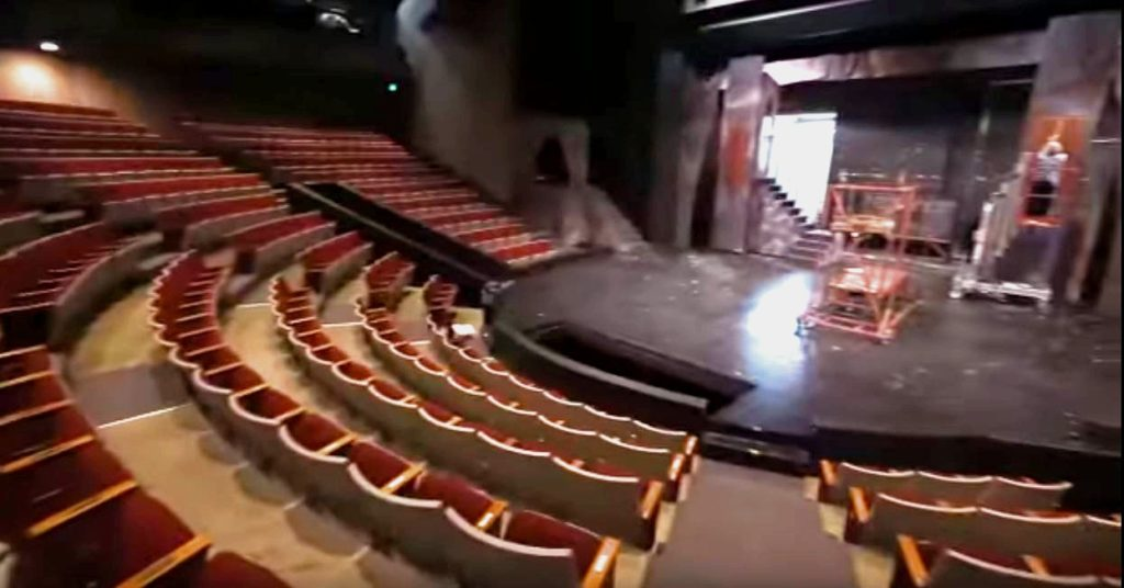 Inside an empty Goppert Theatre
