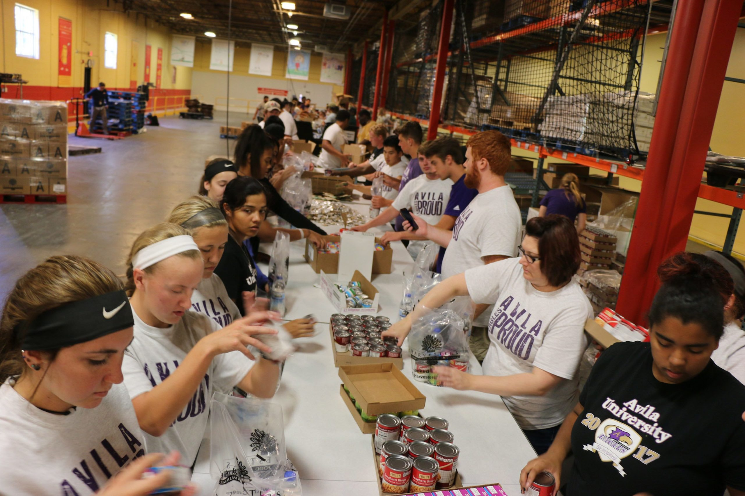 Group of students lining both sides of a long table picking and sorting canned goods inside the Harvesters warehouse