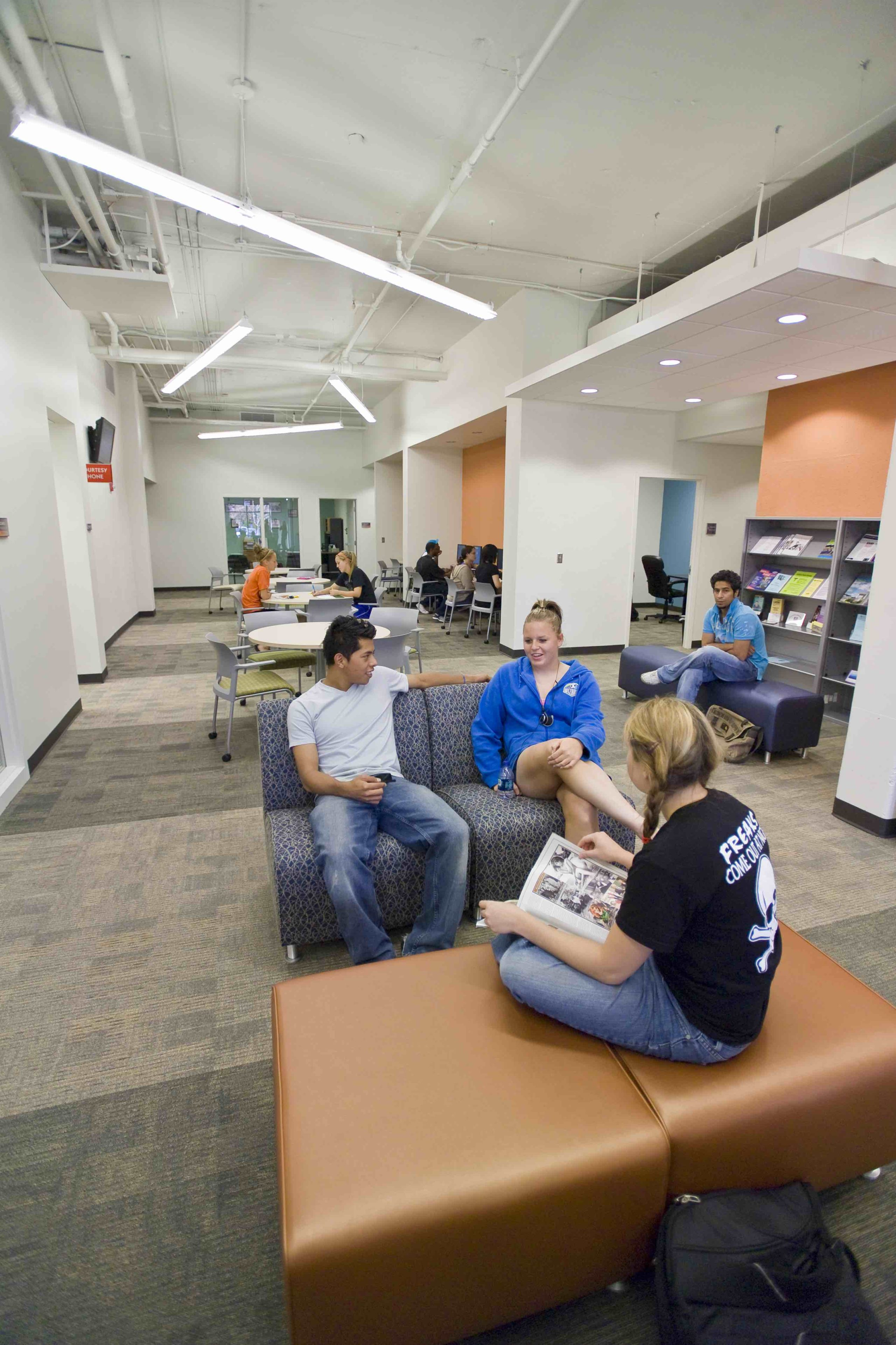 Students lounging in Hodes Center