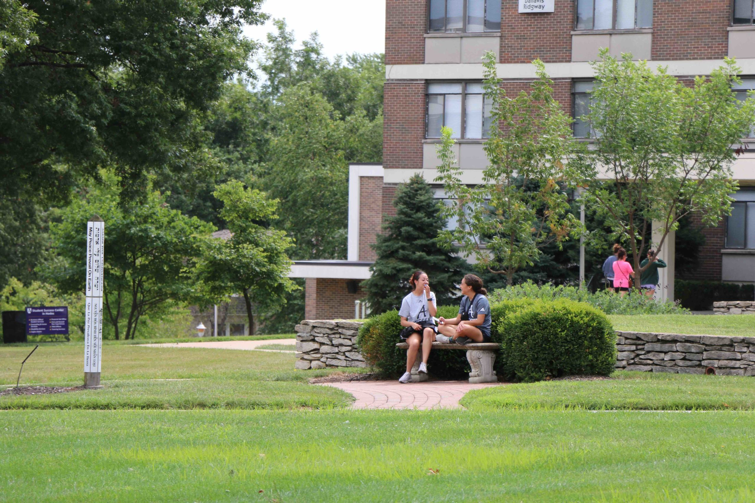 Two students sitting and talking on a bench in front of Foyle Hall