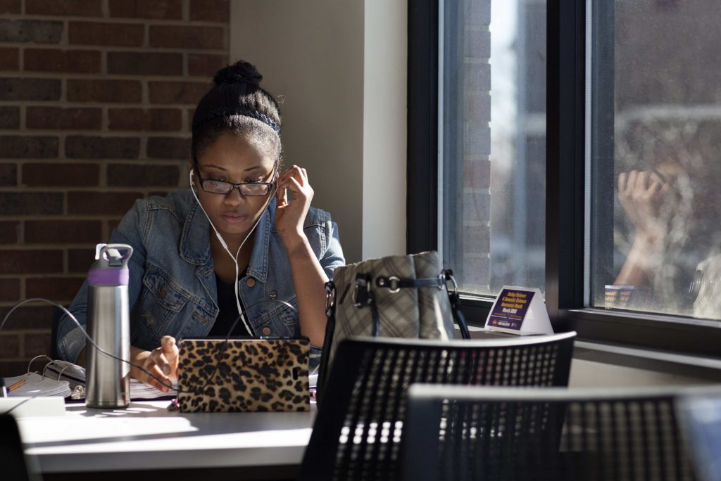 Female student studying in the Learning Commons
