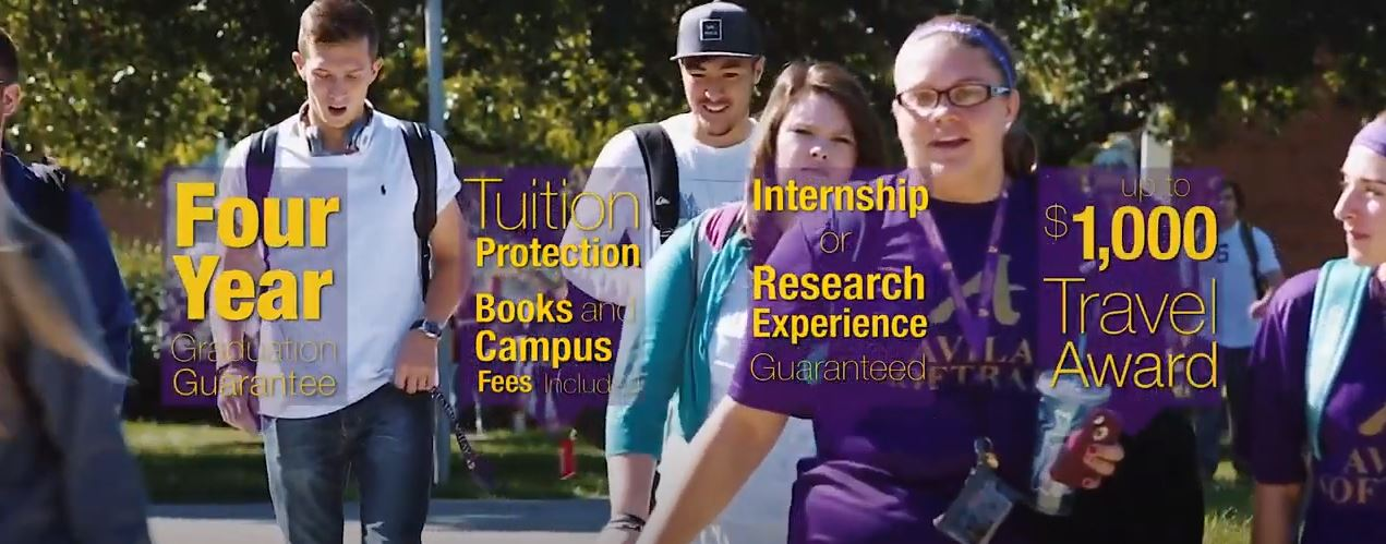 The Avila Promise: On-time graduation guarantee, tuition protection, guaranteed internship or research experience opportunity, and up to $1,000 travel award