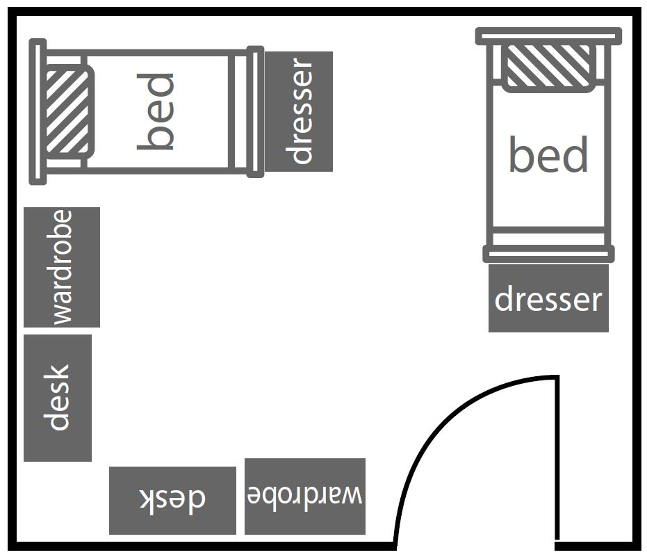 Basic Carondelet Hall floor plan with two beds