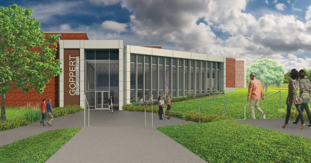 Architectural rendering of Goppert Performing Arts Center entrance