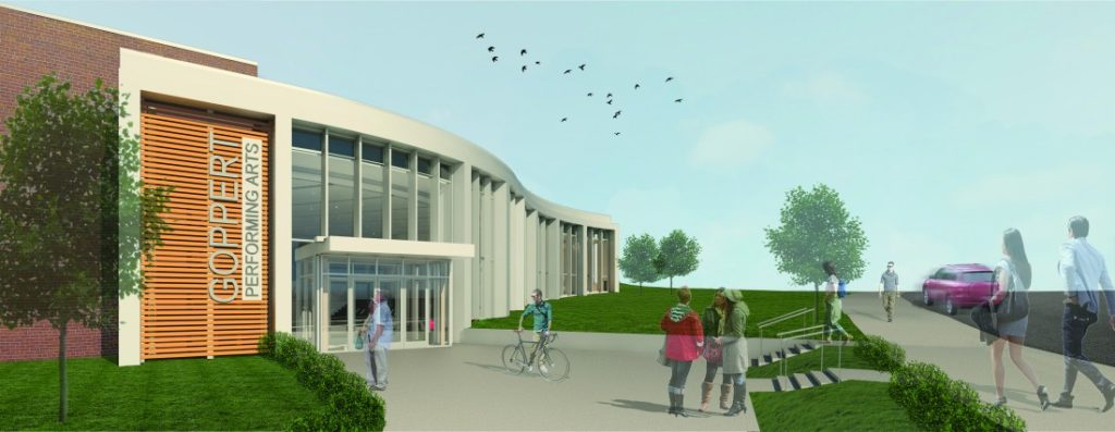 Rendering of New Goppert Performing Arts Center