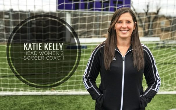 Katie Kelly Poses in front of soccer net