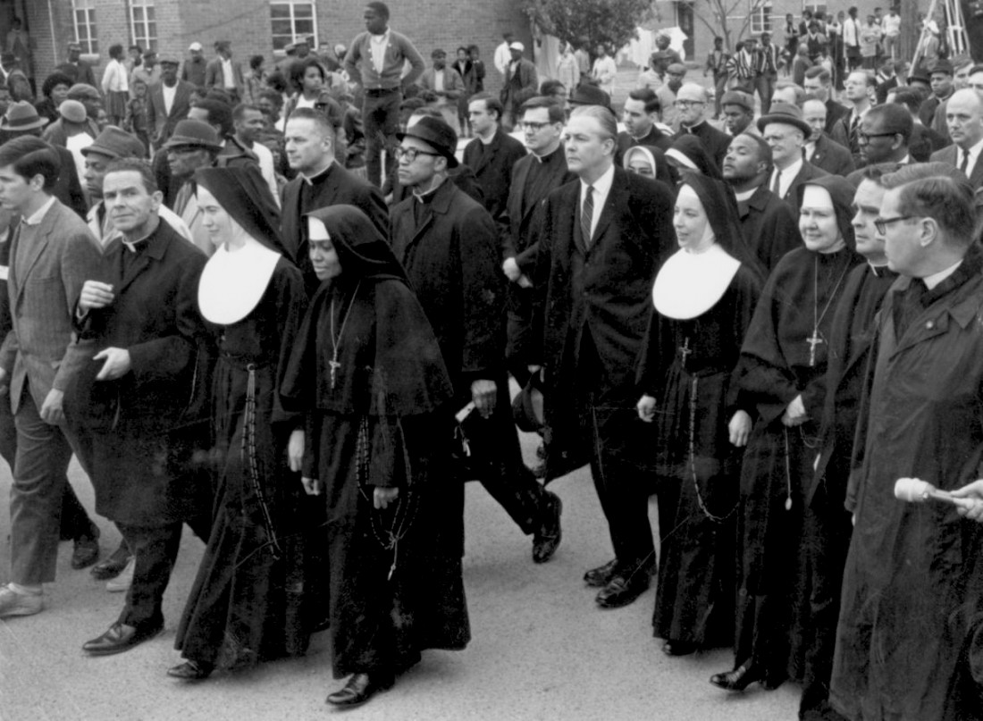 Historical photo of Sisters of St. Joseph marching in Selma
