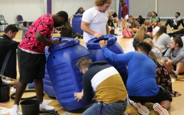 Students gather to help water conservation