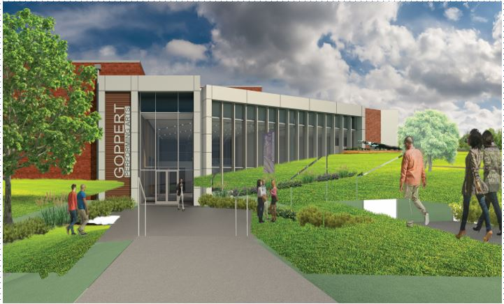 exterior rendering of the goppert performing arts center