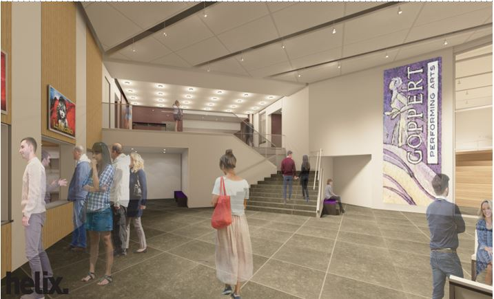 rendering of the grand lobby of the goppert performing arts center