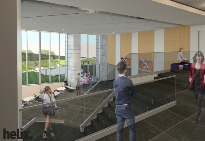Goppert performing arts center lobby from the top floor