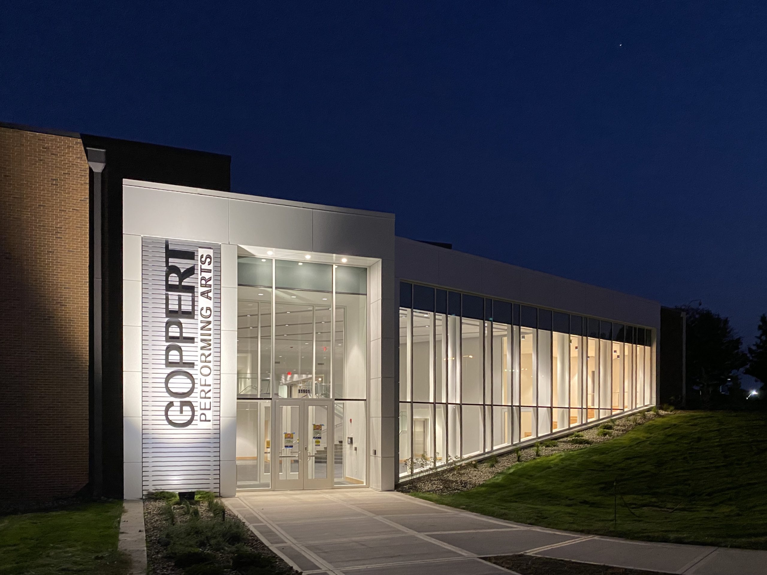Goppert Performing Arts Center entrance at night