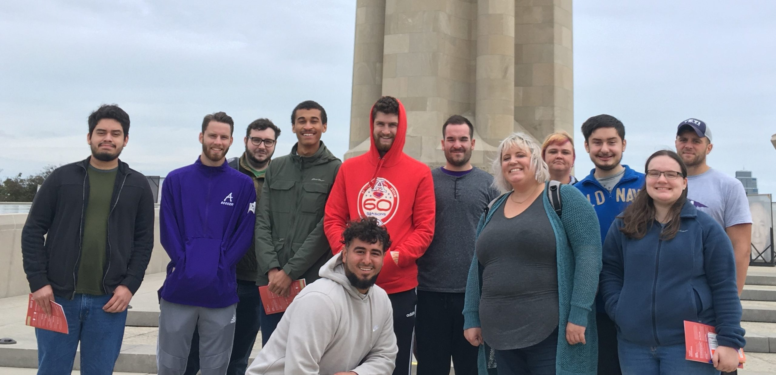 Group of history students on field trip to WWI Museum
