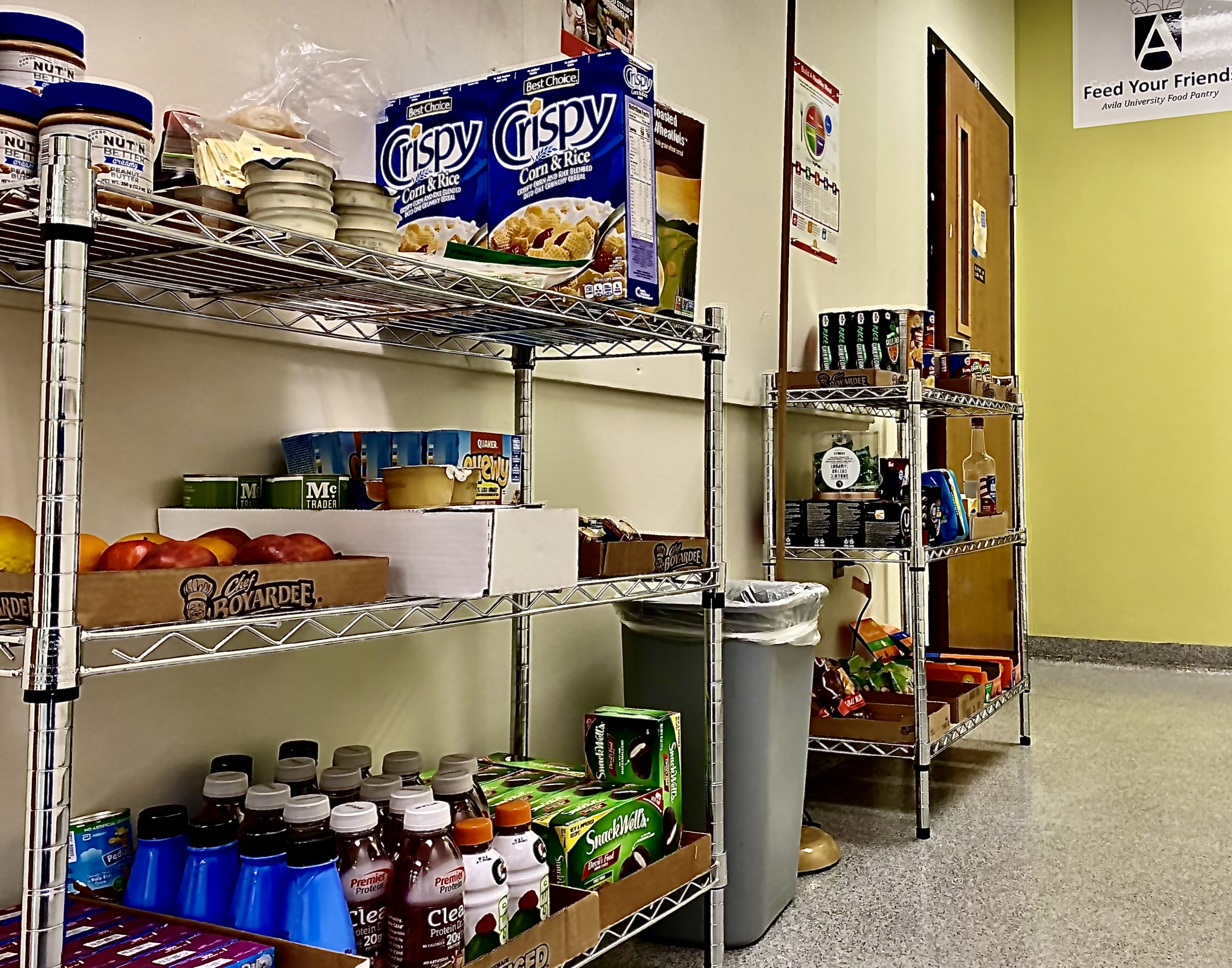 Image of shelves in Avila University food pantry