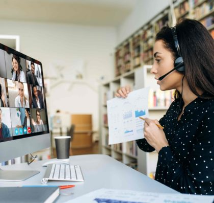 Woman leading a virtual meeting