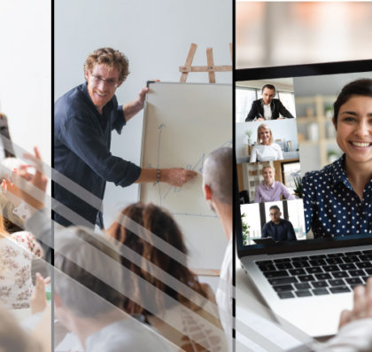Photo collage showing three different size workshops available - large conference, smaller team, and virtual meetings