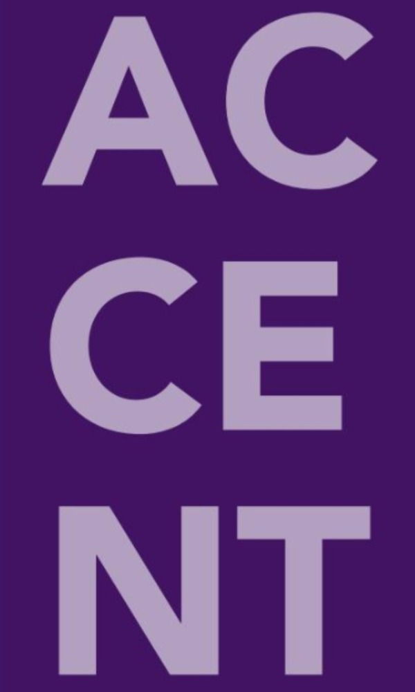 """""""ACCENT"""" in light purple text on purple background"""