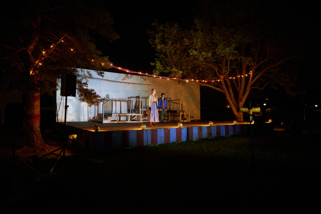 Outdoor theatre stage at night